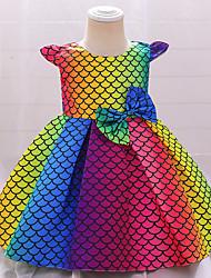 cheap -Ball Gown Knee Length Flower Girl Dresses Wedding Satin Sleeveless Jewel Neck with Sash / Ribbon