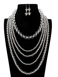 cheap -jewelry exaggerated fashion acrylic transparent bead multi-layer necklace
