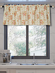 cheap -Tier Curtains Short Window Treatments 1 Panel Floral/Flower for Kitchen Rod Pocket