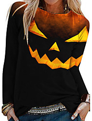 cheap -Women's Halloween Abstract Painting T shirt Text Pumpkin Long Sleeve Print Round Neck Basic Halloween Tops Yellow Black / 3D Print