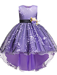 cheap -Kids Little Girls' Dress Jacquard Party Special Occasion Mesh Purple Blushing Pink Wine Asymmetrical Sleeveless Princess Cute Dresses Children's Day Fall Winter Slim 3-10 Years / Spring / Summer