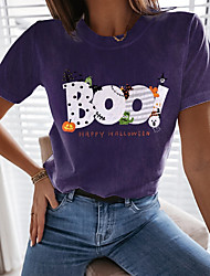 cheap -Women's Halloween Abstract Painting T shirt Graphic Text Print Round Neck Basic Halloween Tops Purple / 3D Print
