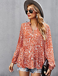 cheap -Women's Blouse Peasant Blouse Shirt Leopard Long Sleeve Flowing tunic Button Print V Neck Casual Streetwear Tops Green White Red