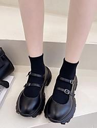 cheap -Women's Lolita Shoes Platform Round Toe Rubber Black Beige