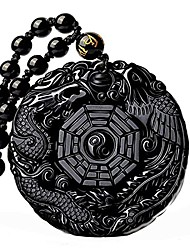 cheap -dragon obsidian necklace for men natural obsidian gossip necklace dragon pendant yin yang dragon phoenix gossip necklace for women with extend bead chain