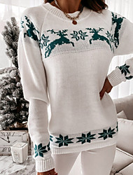 cheap -Women's Pullover Sweater Knitted Animal Stylish Casual Soft Long Sleeve Sweater Cardigans Crew Neck Fall Winter Green White Red / Christmas