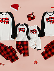 cheap -Christmas Pajamas Family Look Plaid Bear Letter Daily Patchwork White Long Sleeve Daily Matching Outfits / Fall / Winter / Cute / Print