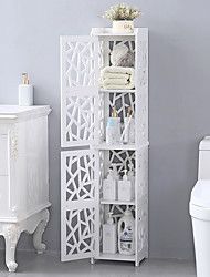 cheap -PVC Furniture Bathroom Shelf Geometric Pattern Layered Structure Up and Down Double Doors 28*28*120cm