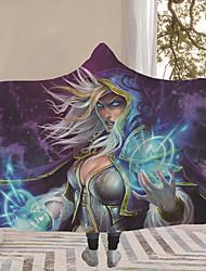 cheap -World of Warcraft Home Digital Print Arctic Plush Magic Hooded Hood Plus Thick Double Plush Lazy Man Snap Blanket