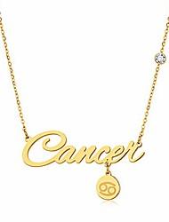cheap -12 constellations necklaces for women girls gemini taurus cancer leo virgo capricorn pisces aries titanium steel zircon alphabet letter zodiac necklace romantic birthday gift (cancer)