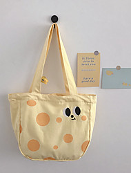 cheap -Canvas Shoulder storage bag back to school Halloween goody bag light yellow cute portable grocery shopping cloth book tote   3*11*28 cm