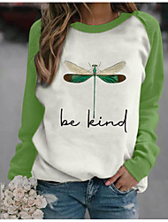 cheap -women be kind dragonfly sweatshirt long sleeve tee tops (s) green