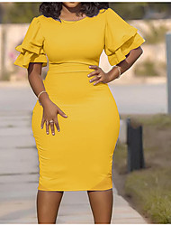 cheap -Women's Plus Size Dress Sheath Dress Short Mini Dress Short Sleeve Solid Color Ruffle Casual Summer Light Yellow Wine Blushing Pink XL XXL 3XL 4XL 5XL