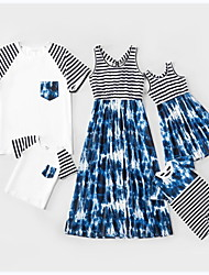 cheap -Family Sets Family Look Cotton Striped Graphic Tie Dye Patchwork White Sleeveless Daily Matching Outfits / Summer / Print