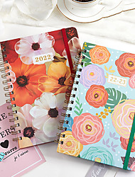 cheap -A5 Floral Colored Journal Notebook back to school gift office Diary Planner Agenda Sketchbook Suitable 21.5*15.5cm