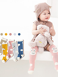 cheap -Kids Unisex Stockings One Pair Light Blue Blue Yellow Dot Animal Cotton Daily Wear Casual Socks 6 Months+