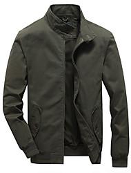 cheap -Men's Jacket Street Daily Fall Spring Short Coat Regular Fit Windproof Casual Jacket Long Sleeve Solid Color Full Zip Pocket Army Green Khaki Black