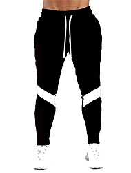 cheap -Men's Stylish Casual / Sporty Comfort Breathable Pants Cotton Daily Sports Pants Color Block Full Length Drawstring Patchwork Grey Light Grey Black Red