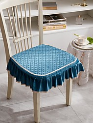 cheap -Seat Cushion Bandage Chair Cushion Solid Color Netherlands Velvet Exquisite Embossing Seat Cushion Home Office Seat Bar Dining Chair Seat Pads Garden Floor Cushion