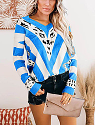 cheap -Women's Pullover Sweater Modern Style Leopard Print Casual Long Sleeve Sweater Cardigans V Neck Fall Winter Blue Purple Yellow
