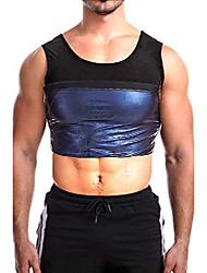 cheap -men sauna vest -8 sizes compression tank top sweatsuit for home workout gym running daily wear - 5xl: waist 41~43'' coal black