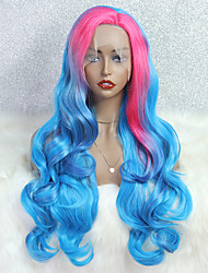 cheap -Synthetic Lace Wig Deep Wave Style 24 inch Pink With Bangs 4x13 Closure Wig Women's Wig Pink / Blue
