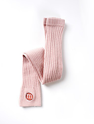 cheap -Kids Girls' Tights 1pc Tea green Yellow Blushing Pink Solid Color Letter Cotton Daily Wear Casual Socks 1 year+