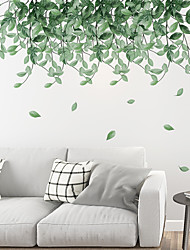 cheap -Fresh Green Leaves Wall Stickers Bedroom Living Room Removable Pre-pasted PVC Home Decoration Wall Decal
