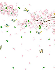 cheap -Peach Blossom Bird Wall Stickers Bedroom Living Room Removable Pre-pasted PVC Home Decoration Wall Decal 2pcs
