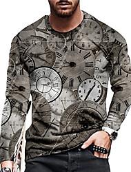 cheap -Men's Unisex Tee T shirt Shirt 3D Print Graphic Prints Clock Print Long Sleeve Daily Tops Casual Designer Big and Tall Gray