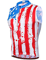 cheap -21Grams Men's Sleeveless Cycling Jersey Summer Spandex Red / White American / USA Bike Top Mountain Bike MTB Road Bike Cycling Quick Dry Moisture Wicking Sports Clothing Apparel / Stretchy