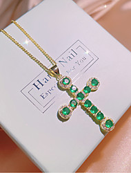 cheap -Cross Necklace Clear Green AAA Cubic Zirconia Pendant Necklace Classic Cross Fashion Holiday European Brass Gold 50 cm Necklace Jewelry 1pc For Halloween Street Masquerade Festival