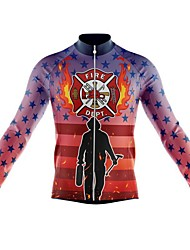 cheap -21Grams Men's Long Sleeve Cycling Jersey Spandex Red+Blue American / USA Bike Top Mountain Bike MTB Road Bike Cycling Quick Dry Moisture Wicking Sports Clothing Apparel / Stretchy / Athleisure