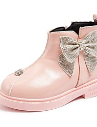 cheap -Girls' Boots Glitters Ankle Boots Flower Girl Shoes Roman Shoes Leather Patent Leather Portable Cute Casual / Daily Fashion Boots Little Kids(4-7ys) Big Kids(7years +) Party & Evening Bowknot