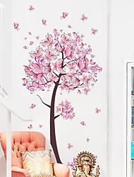 cheap -New Pink Butterfly Flower Tree Bedroom Living Room Background Wall Sticker Wholesale Self-Adhesive Can Be Removed 45*60cm