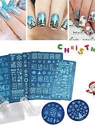 cheap -8 Pcs Nail Art Stamping Plates Flowers Christmas Design DIY Nail Templates Sticker Stamping Stencil Decorations Set Stamper