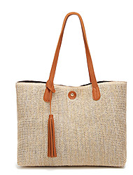 cheap -Women's Bags Straw Tote Shopping Daily Date Handbags Blue Black Red Brown
