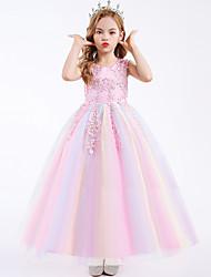 cheap -Kids Little Girls' Dress Graphic Flower Tulle Dress Daily Pegeant Lace Trims Blue Purple Blushing Pink Maxi Sleeveless Princess Cute Dresses Children's Day Fall Summer Slim 4-13 Years