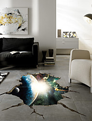 cheap -3D Space Nebula Wall Stickers - Plane Wall Stickers Floral / Botanical / Landscape Study Room / Office / Dining Room / Kitchen 90*60cm Wall Stickers for bedroom living room