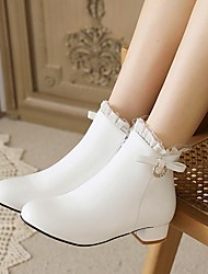 cheap -Girls' Boots Boots Bootie Christmas PU Cute Casual / Daily Fashion Boots Big Kids(7years +) Daily Wedding Party Bowknot Ruffles Pink White Black Fall Winter / Booties / Ankle Boots / Rubber