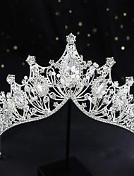 cheap -Bride Wedding Crown Wedding Dress Accessories Exquisite Handmade Crystal Hair Accessories Princess Birthday Round Crown Tiara