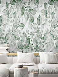 cheap -Mural Wallpaper Wall Sticker Covering Print Peel and Stick Self Adhesive Green Leaflet Botanical  PVC / Vinyl Home Decor