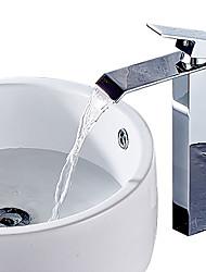 cheap -Waterfall Spout Brushed Nickel/Chrome/Black Bathroom FaucetSingle Handle Bathroom Vanity Sink Faucet Rv Lavatory Vessel Faucet Basin Mixer Tap