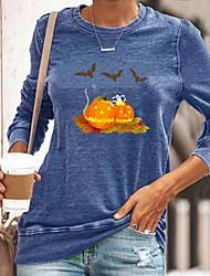 cheap -Women's Halloween Abstract Painting T shirt Graphic Pumpkin Long Sleeve Print Round Neck Basic Halloween Tops Cotton Blue Yellow Gray