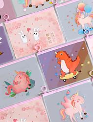 cheap -8pcs Cartoon Unicorn Pink Leopard Transparent PVC Document Bag File Folder Stationery Organizer