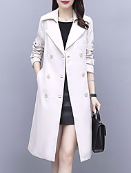cheap -Women's Trench Coat Casual Date Fall Spring Long Coat Slim Warm Business Casual Jacket Long Sleeve Solid Colored Bean Green Avocado Green Leather Pink