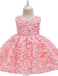 cheap -Ball Gown Knee Length Flower Girl Dresses Wedding Satin Sleeveless Jewel Neck with Appliques