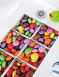 cheap -6 PCS 3D Color Pebbles Waterproof Twill Floor Sticker Bathtub Anti-slip Mat Waterproof Bathtub Self-adhesive Paper