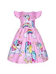 cheap -Kid's Little Girls' Dress Cartoon Unicorn Blushing Pink Rose Red Short Sleeve Chic & Modern Cute Dresses