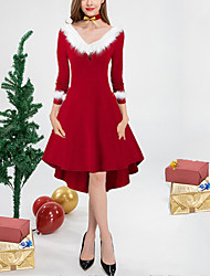 cheap -Women's A Line Dress Knee Length Dress Red 3/4 Length Sleeve Solid Color Plus High Low Fall Winter V Neck Elegant Casual Sexy Christmas 2021 S M L XL XXL